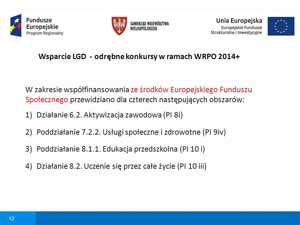12 W zakresie współfinansowania ze środków Europejskiego Funduszu Społecznego przewidziano dla czterech następujących obszarów: 1)Działanie 6.2.