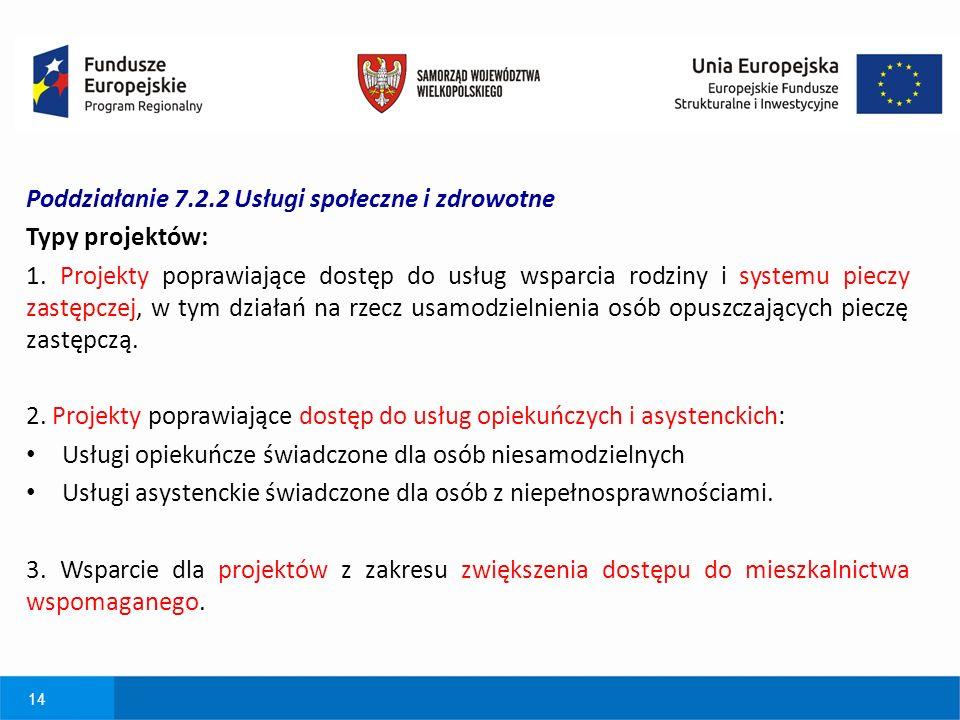 14 Poddziałanie 7.2.2 Usługi społeczne i zdrowotne Typy projektów: 1.