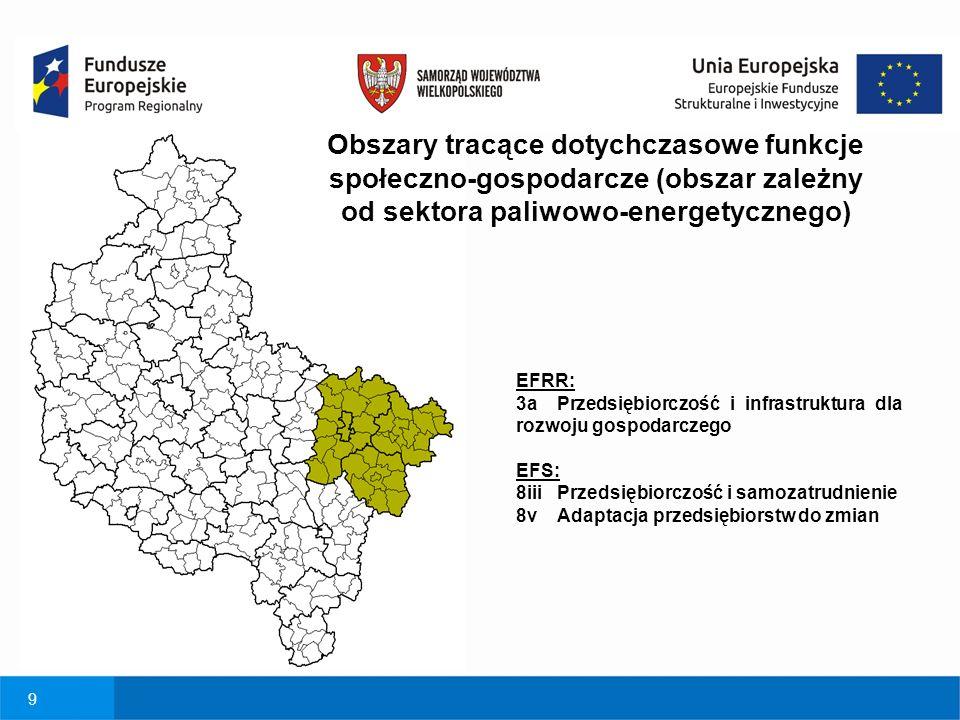 9 Obszary tracące dotychczasowe funkcje społeczno-gospodarcze (obszar zależny od sektora paliwowo-energetycznego) EFRR: 3a Przedsiębiorczość i infrastruktura dla rozwoju gospodarczego EFS: 8iii Przedsiębiorczość i samozatrudnienie 8v Adaptacja przedsiębiorstw do zmian