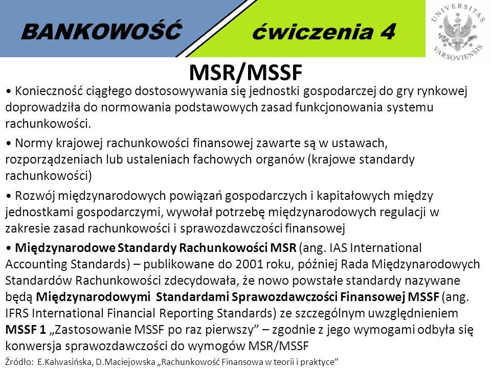 3 BANKOWOŚĆćwiczenia 4 MSR/MSSF Konieczność ciągłego dostosowywania się jednostki gospodarczej do gry rynkowej doprowadziła do normowania podstawowych