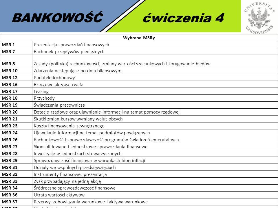 4 BANKOWOŚĆćwiczenia 4 Wybrane MSRy MSR 1Prezentacja sprawozdań finansowych MSR 7Rachunek przepływów pieniężnych MSR 8Zasady (polityka) rachunkowości,