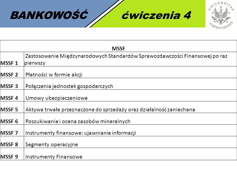 5 BANKOWOŚĆćwiczenia 4 MSSF MSSF 1 Zastosowanie Międzynarodowych Standardów Sprawozdawczości Finansowej po raz pierwszy MSSF 2 Płatności w formie akcj