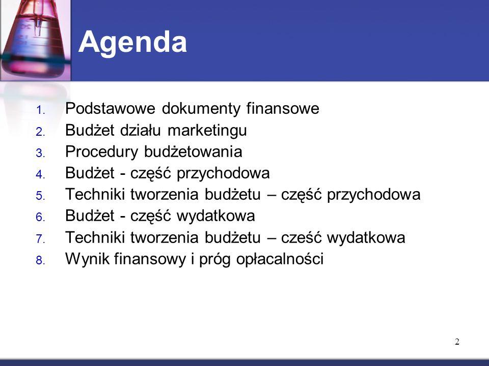 2 Agenda 1. Podstawowe dokumenty finansowe 2. Budżet działu marketingu 3.