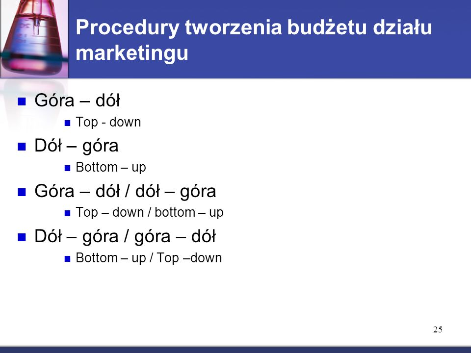 25 Procedury tworzenia budżetu działu marketingu Góra – dół Top - down Dół – góra Bottom – up Góra – dół / dół – góra Top – down / bottom – up Dół – g