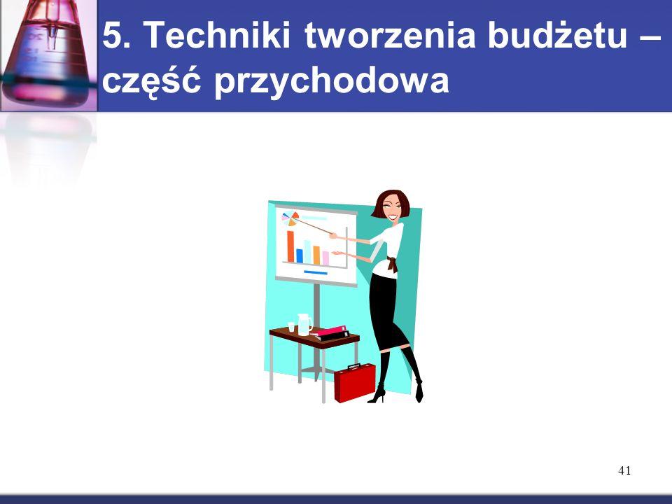 5. Techniki tworzenia budżetu – część przychodowa 41