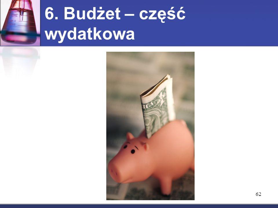 62 6. Budżet – część wydatkowa