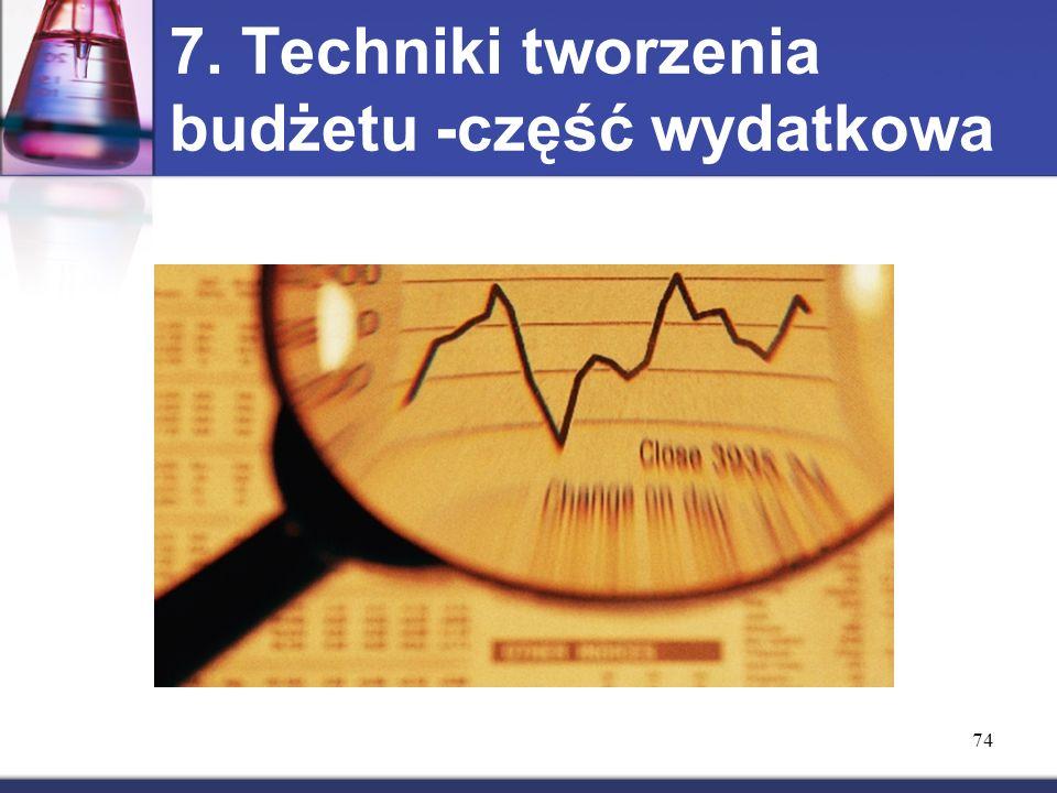 74 7. Techniki tworzenia budżetu -część wydatkowa