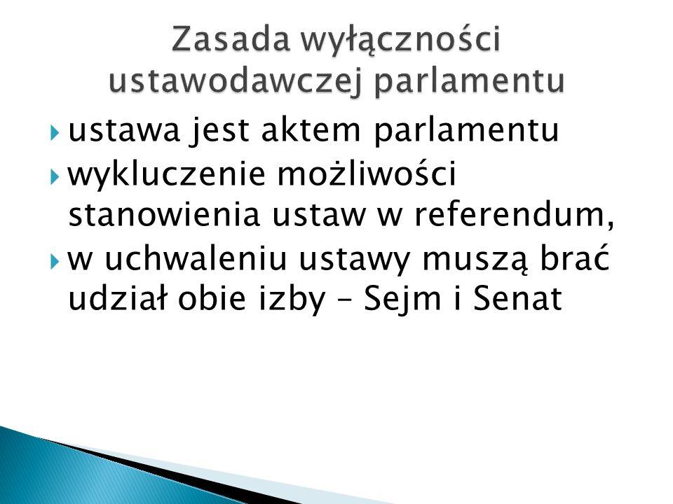  ustawa jest aktem parlamentu  wykluczenie możliwości stanowienia ustaw w referendum,  w uchwaleniu ustawy muszą brać udział obie izby – Sejm i Sen