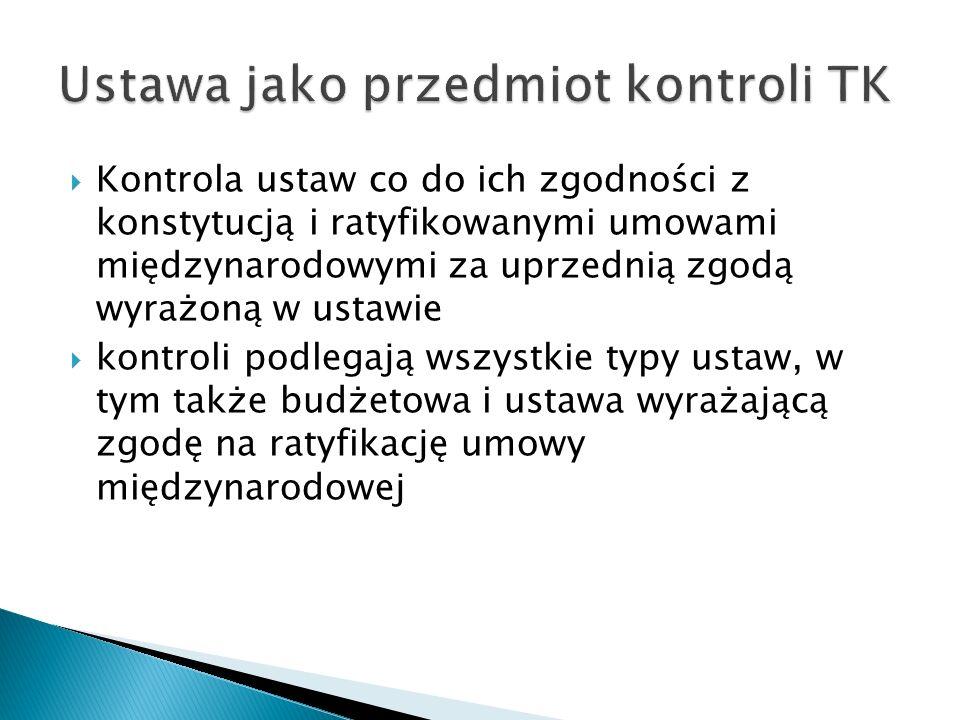  Kontrola ustaw co do ich zgodności z konstytucją i ratyfikowanymi umowami międzynarodowymi za uprzednią zgodą wyrażoną w ustawie  kontroli podlegaj