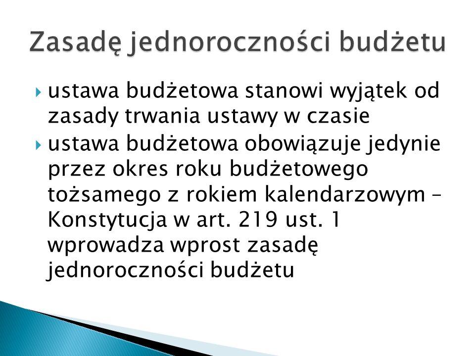  ustawa budżetowa stanowi wyjątek od zasady trwania ustawy w czasie  ustawa budżetowa obowiązuje jedynie przez okres roku budżetowego tożsamego z ro