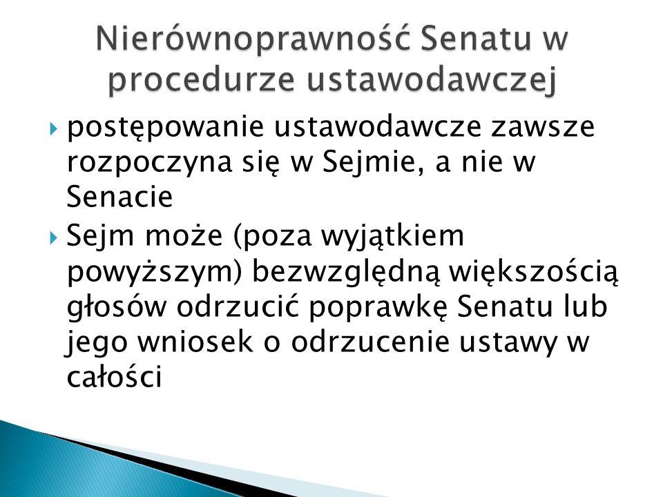  postępowanie ustawodawcze zawsze rozpoczyna się w Sejmie, a nie w Senacie  Sejm może (poza wyjątkiem powyższym) bezwzględną większością głosów odrz