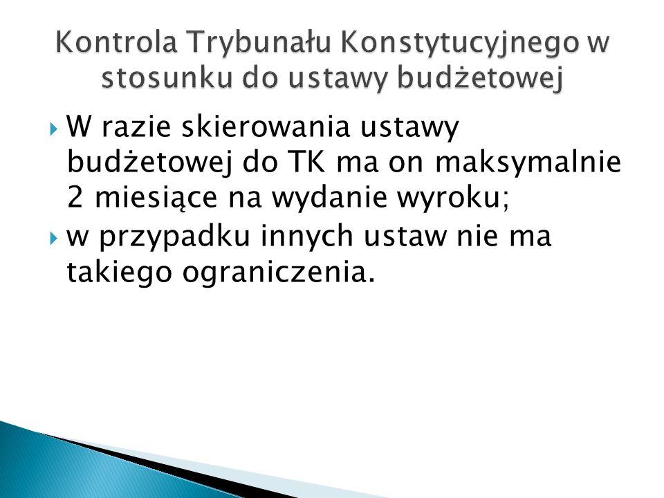  W razie skierowania ustawy budżetowej do TK ma on maksymalnie 2 miesiące na wydanie wyroku;  w przypadku innych ustaw nie ma takiego ograniczenia.