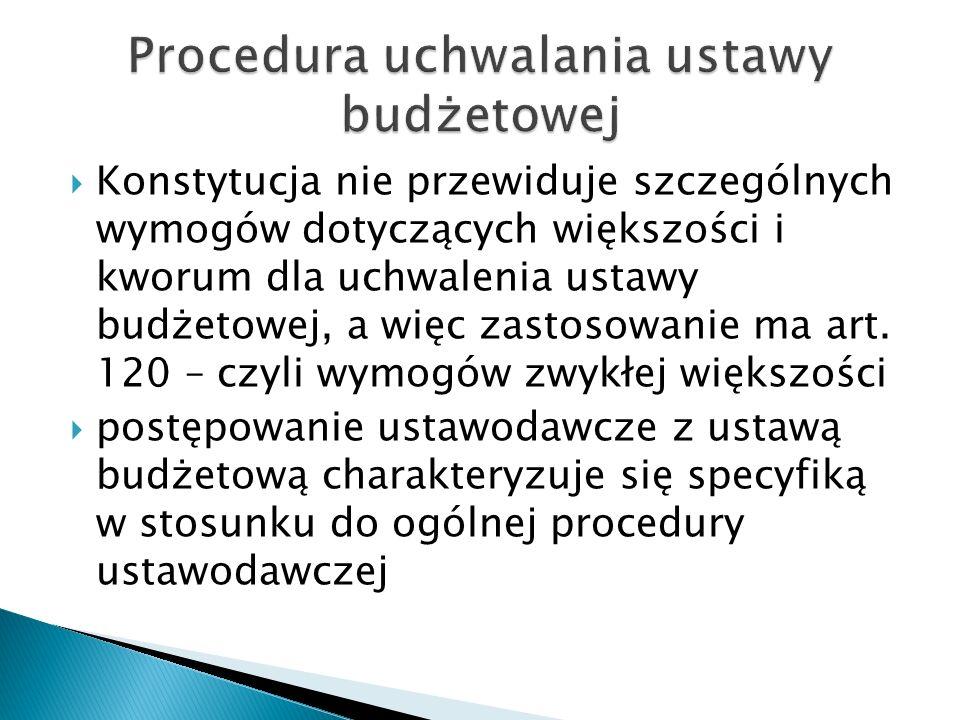  Konstytucja nie przewiduje szczególnych wymogów dotyczących większości i kworum dla uchwalenia ustawy budżetowej, a więc zastosowanie ma art. 120 –