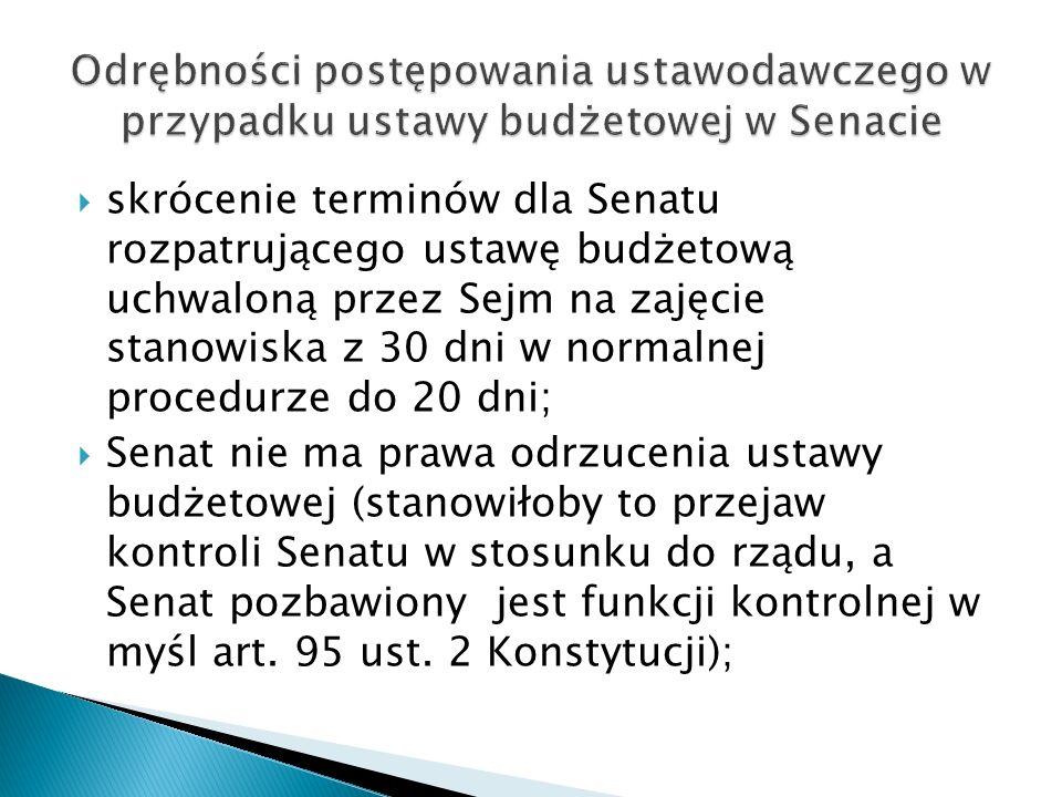 skrócenie terminów dla Senatu rozpatrującego ustawę budżetową uchwaloną przez Sejm na zajęcie stanowiska z 30 dni w normalnej procedurze do 20 dni;
