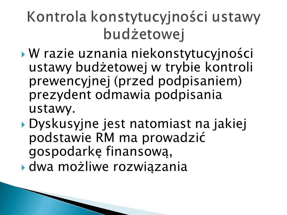  W razie uznania niekonstytucyjności ustawy budżetowej w trybie kontroli prewencyjnej (przed podpisaniem) prezydent odmawia podpisania ustawy.  Dysk