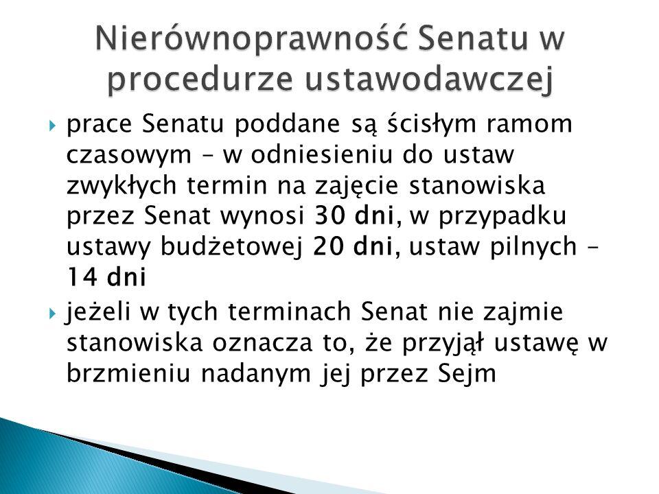  prace Senatu poddane są ścisłym ramom czasowym – w odniesieniu do ustaw zwykłych termin na zajęcie stanowiska przez Senat wynosi 30 dni, w przypadku