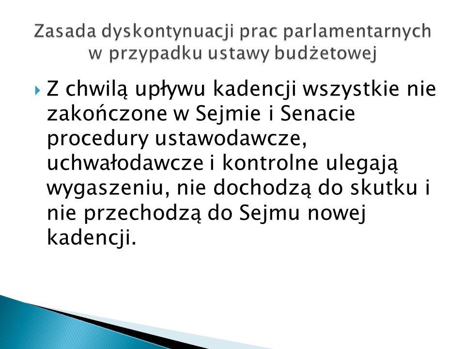  Z chwilą upływu kadencji wszystkie nie zakończone w Sejmie i Senacie procedury ustawodawcze, uchwałodawcze i kontrolne ulegają wygaszeniu, nie docho