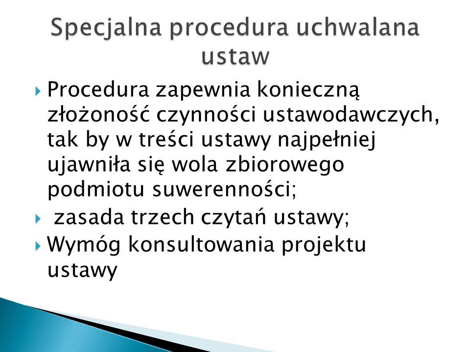 Procedura zapewnia konieczną złożoność czynności ustawodawczych, tak by w treści ustawy najpełniej ujawniła się wola zbiorowego podmiotu suwerennośc