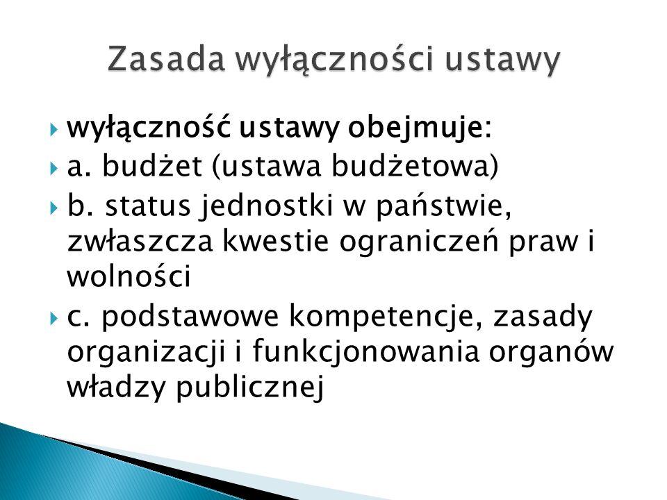  wyłączność ustawy obejmuje:  a. budżet (ustawa budżetowa)  b. status jednostki w państwie, zwłaszcza kwestie ograniczeń praw i wolności  c. podst