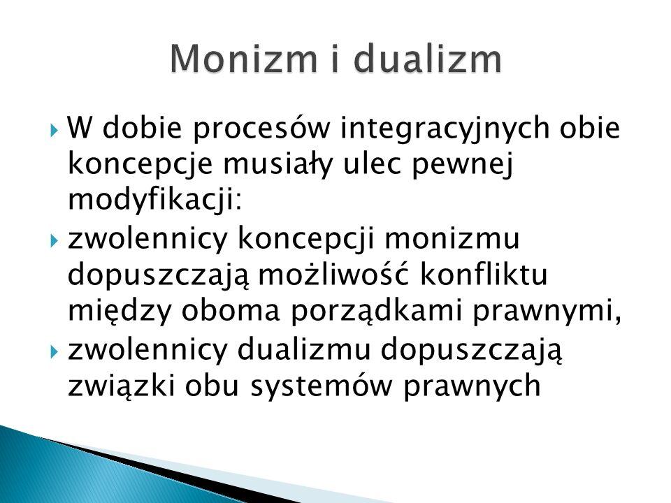  W dobie procesów integracyjnych obie koncepcje musiały ulec pewnej modyfikacji:  zwolennicy koncepcji monizmu dopuszczają możliwość konfliktu międz