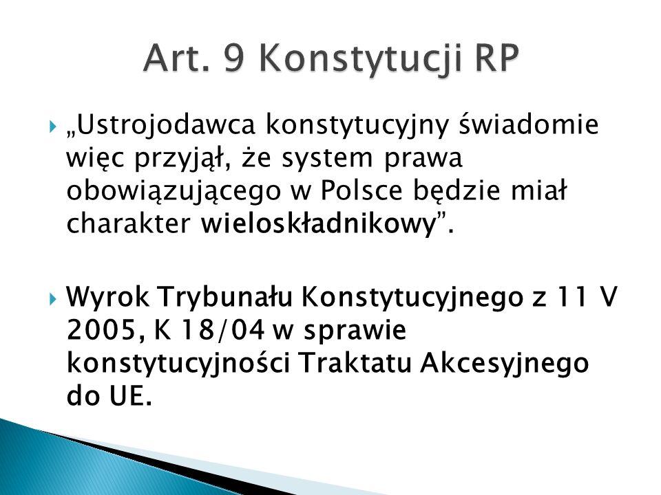 """ """"Ustrojodawca konstytucyjny świadomie więc przyjął, że system prawa obowiązującego w Polsce będzie miał charakter wieloskładnikowy"""".  Wyrok Trybuna"""