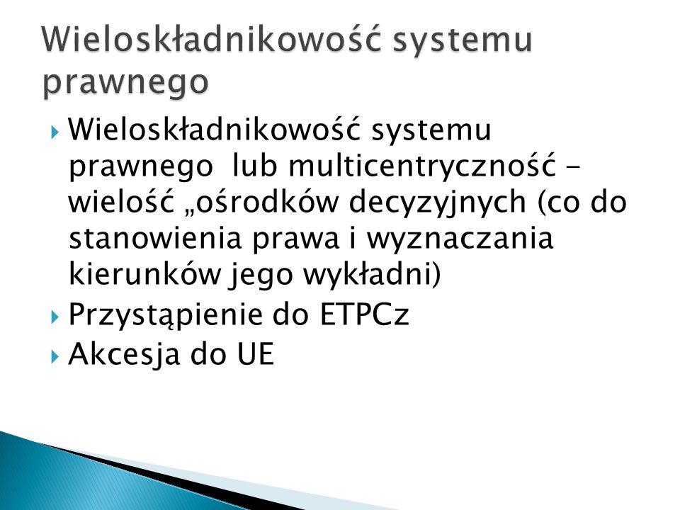 """ Wieloskładnikowość systemu prawnego lub multicentryczność - wielość """"ośrodków decyzyjnych (co do stanowienia prawa i wyznaczania kierunków jego wykł"""
