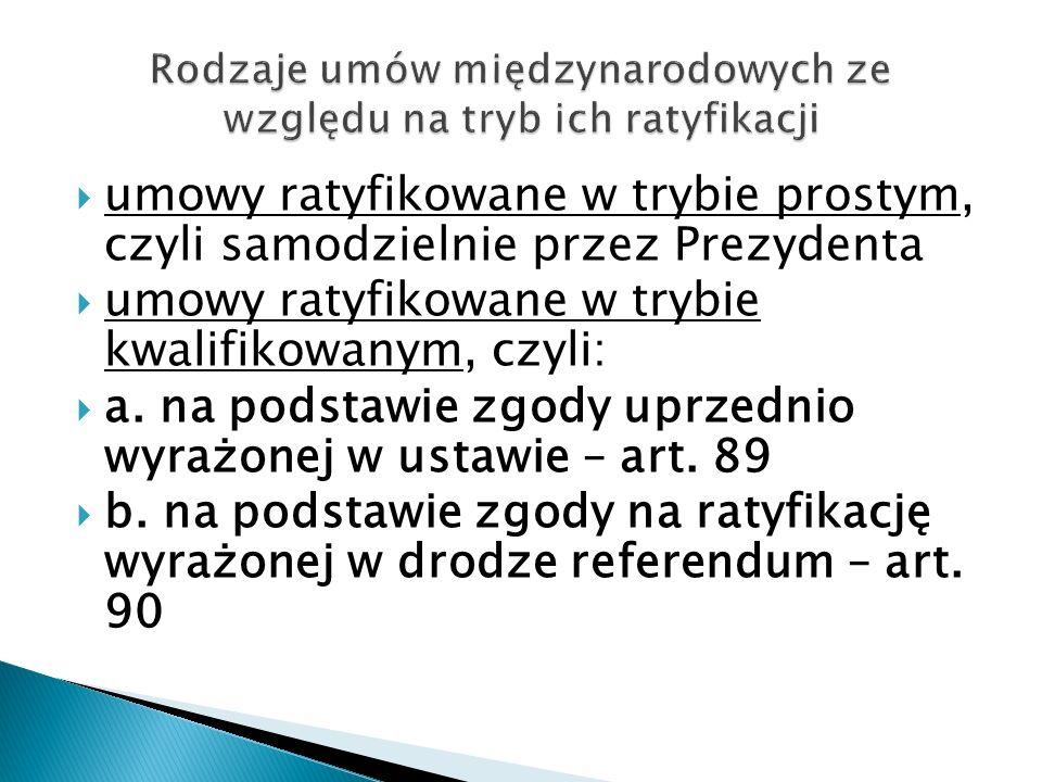  umowy ratyfikowane w trybie prostym, czyli samodzielnie przez Prezydenta  umowy ratyfikowane w trybie kwalifikowanym, czyli:  a. na podstawie zgod