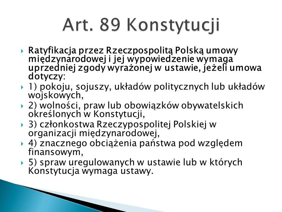  Ratyfikacja przez Rzeczpospolitą Polską umowy międzynarodowej i jej wypowiedzenie wymaga uprzedniej zgody wyrażonej w ustawie, jeżeli umowa dotyczy: