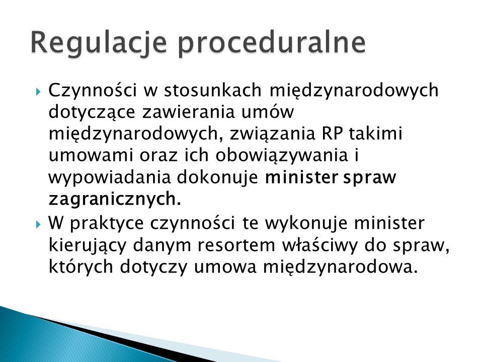  Czynności w stosunkach międzynarodowych dotyczące zawierania umów międzynarodowych, związania RP takimi umowami oraz ich obowiązywania i wypowiadani