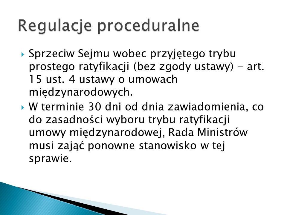  Sprzeciw Sejmu wobec przyjętego trybu prostego ratyfikacji (bez zgody ustawy) - art. 15 ust. 4 ustawy o umowach międzynarodowych.  W terminie 30 dn
