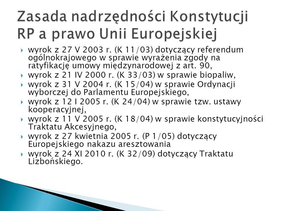  wyrok z 27 V 2003 r. (K 11/03) dotyczący referendum ogólnokrajowego w sprawie wyrażenia zgody na ratyfikację umowy międzynarodowej z art. 90,  wyro
