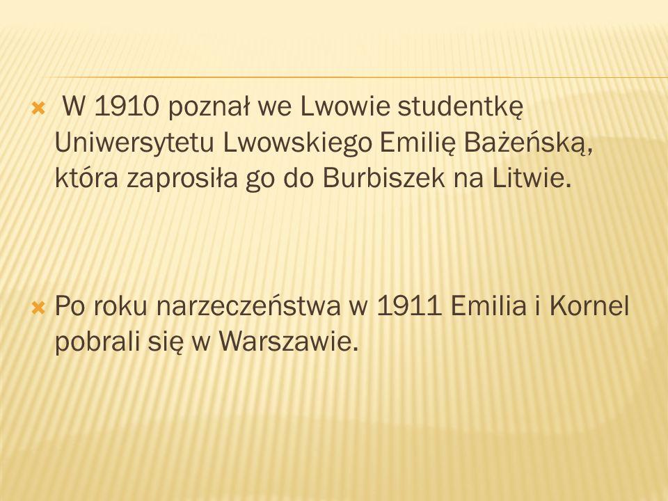  W 1910 poznał we Lwowie studentkę Uniwersytetu Lwowskiego Emilię Bażeńską, która zaprosiła go do Burbiszek na Litwie.