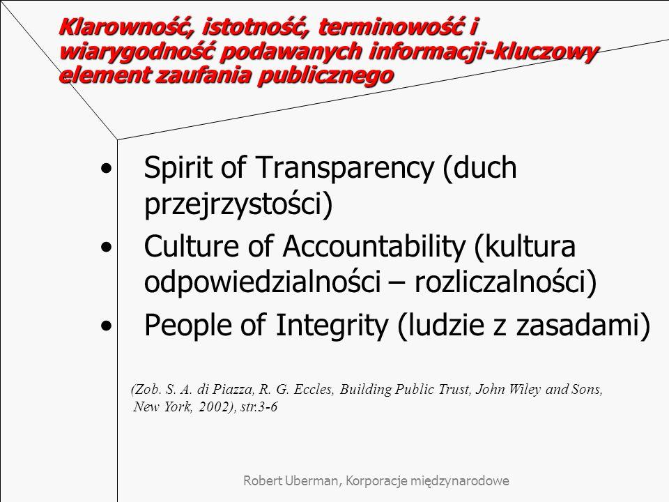 Robert Uberman, Korporacje międzynarodowe Klarowność, istotność, terminowość i wiarygodność podawanych informacji-kluczowy element zaufania publiczneg