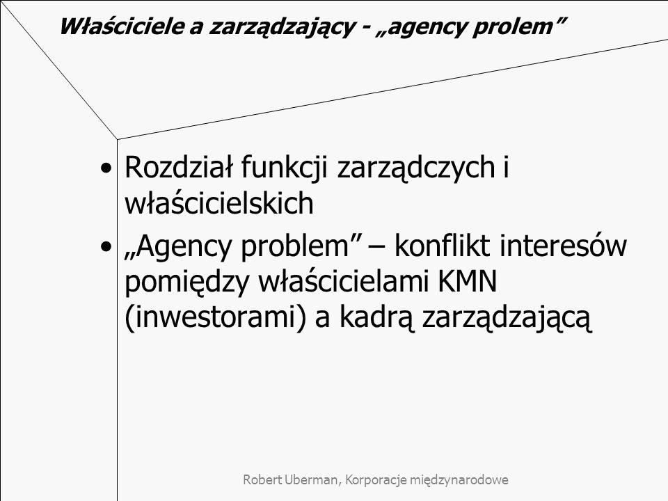 """Właściciele a zarządzający - """"agency prolem Rozdział funkcji zarządczych i właścicielskich """"Agency problem – konflikt interesów pomiędzy właścicielami KMN (inwestorami) a kadrą zarządzającą"""