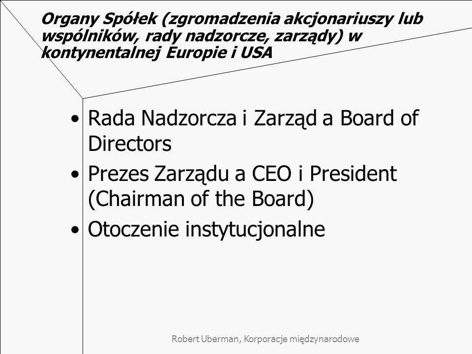 Robert Uberman, Korporacje międzynarodowe Organy Spółek (zgromadzenia akcjonariuszy lub wspólników, rady nadzorcze, zarządy) w kontynentalnej Europie