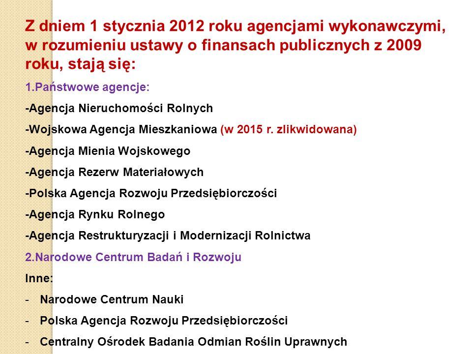 Z dniem 1 stycznia 2012 roku agencjami wykonawczymi, w rozumieniu ustawy o finansach publicznych z 2009 roku, stają się: 1.Państwowe agencje: -Agencja Nieruchomości Rolnych -Wojskowa Agencja Mieszkaniowa (w 2015 r.