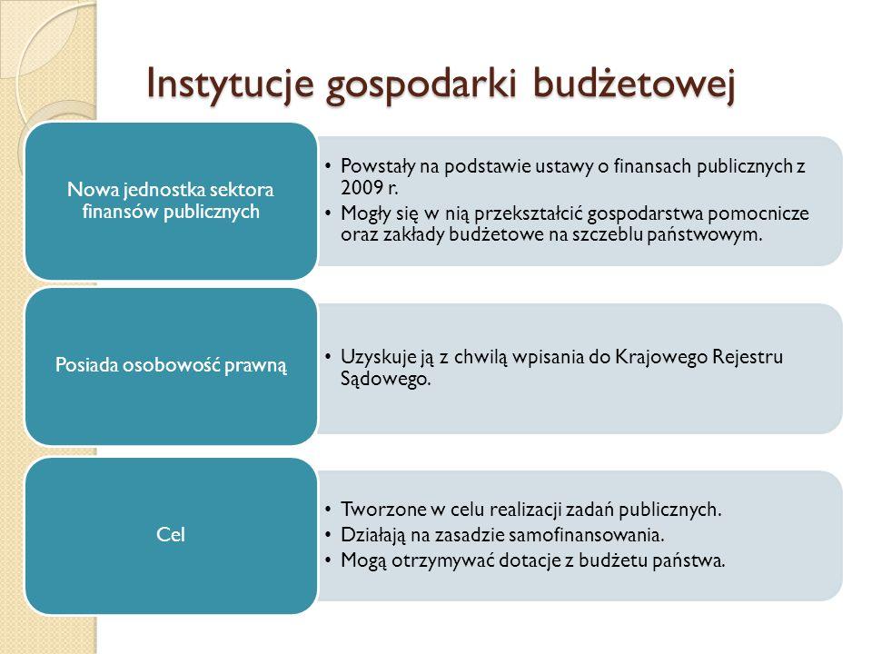 Instytucje gospodarki budżetowej Powstały na podstawie ustawy o finansach publicznych z 2009 r.