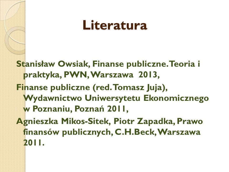 Literatura Stanisław Owsiak, Finanse publiczne.