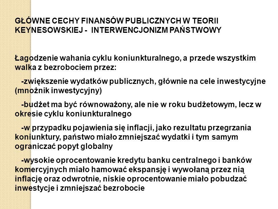 GŁÓWNE CECHY FINANSÓW PUBLICZNYCH W TEORII KEYNESOWSKIEJ - INTERWENCJONIZM PAŃSTWOWY Łagodzenie wahania cyklu koniunkturalnego, a przede wszystkim walka z bezrobociem przez: -zwiększenie wydatków publicznych, głównie na cele inwestycyjne (mnożnik inwestycyjny) -budżet ma być równoważony, ale nie w roku budżetowym, lecz w okresie cyklu koniunkturalnego -w przypadku pojawienia się inflacji, jako rezultatu przegrzania koniunktury, państwo miało zmniejszać wydatki i tym samym ograniczać popyt globalny -wysokie oprocentowanie kredytu banku centralnego i banków komercyjnych miało hamować ekspansję i wywołaną przez nią inflację oraz odwrotnie, niskie oprocentowanie miało pobudzać inwestycje i zmniejszać bezrobocie