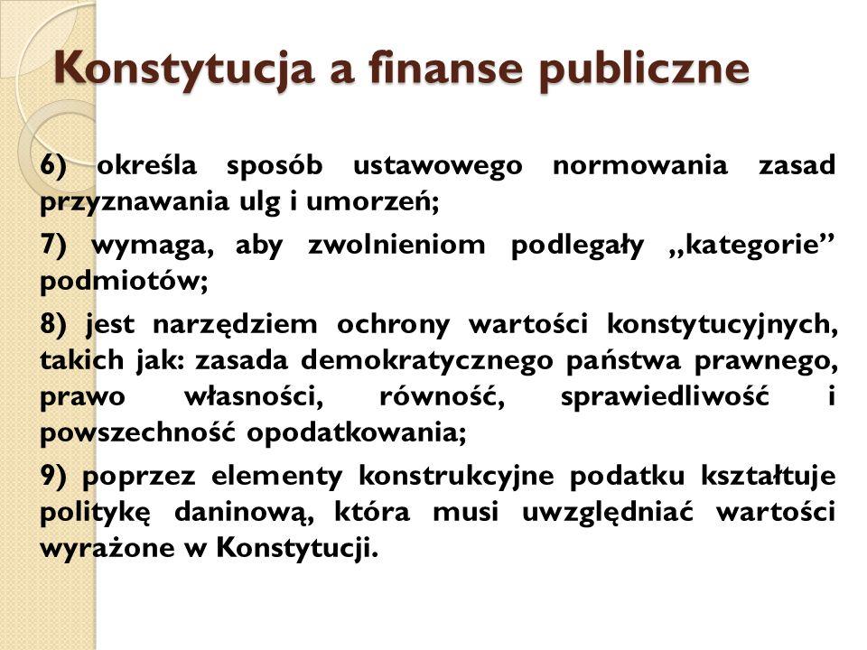 """Konstytucja a finanse publiczne 6) określa sposób ustawowego normowania zasad przyznawania ulg i umorzeń; 7) wymaga, aby zwolnieniom podlegały """"kategorie podmiotów; 8) jest narzędziem ochrony wartości konstytucyjnych, takich jak: zasada demokratycznego państwa prawnego, prawo własności, równość, sprawiedliwość i powszechność opodatkowania; 9) poprzez elementy konstrukcyjne podatku kształtuje politykę daninową, która musi uwzględniać wartości wyrażone w Konstytucji."""