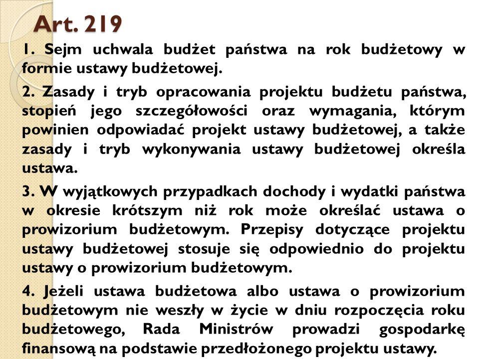 Art.219 1. Sejm uchwala budżet państwa na rok budżetowy w formie ustawy budżetowej.