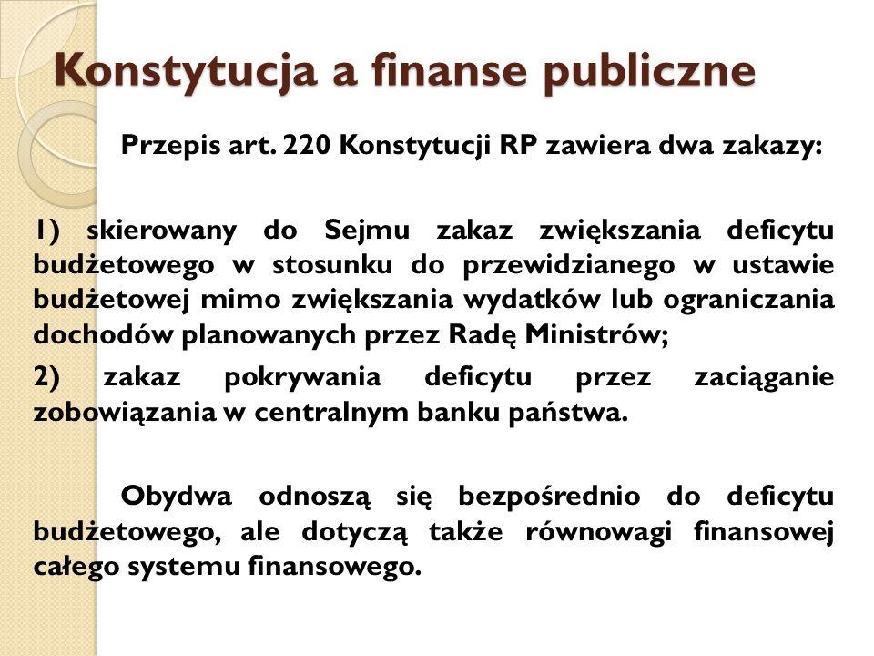 Konstytucja a finanse publiczne Przepis art.