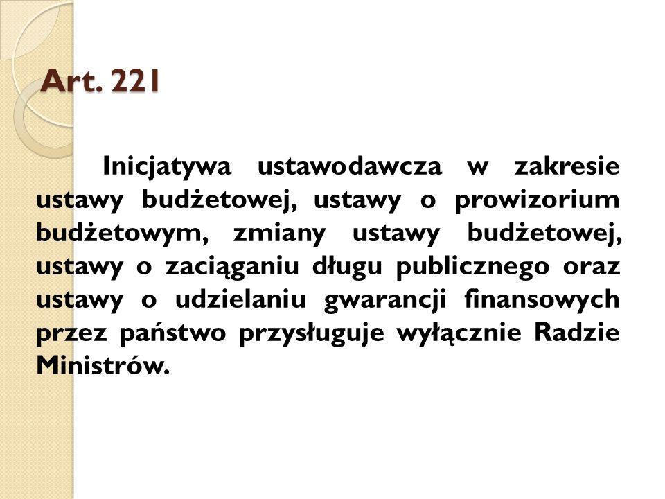 Art. 221 Inicjatywa ustawodawcza w zakresie ustawy budżetowej, ustawy o prowizorium budżetowym, zmiany ustawy budżetowej, ustawy o zaciąganiu długu pu