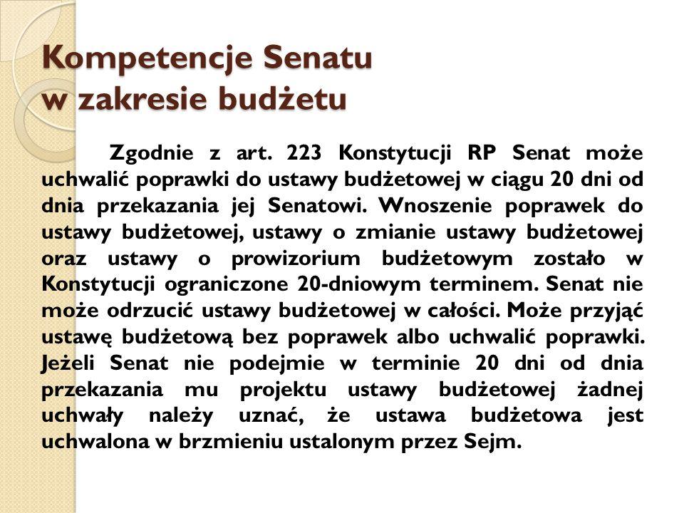 Kompetencje Senatu w zakresie budżetu Zgodnie z art.