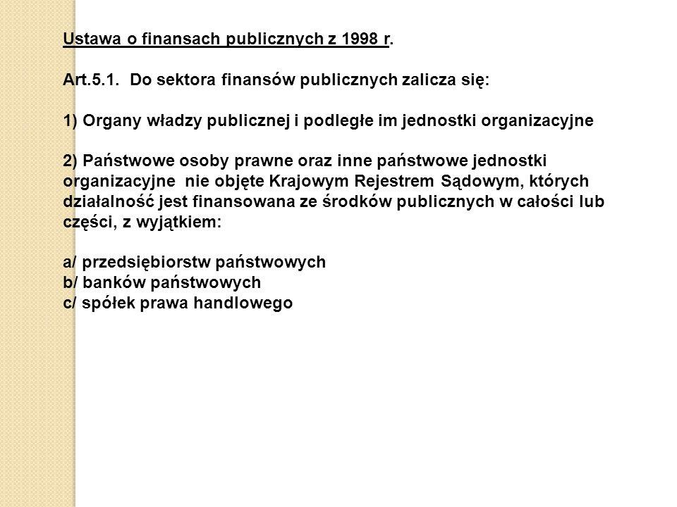 Ustawa o finansach publicznych z 1998 r.Art.5.1.