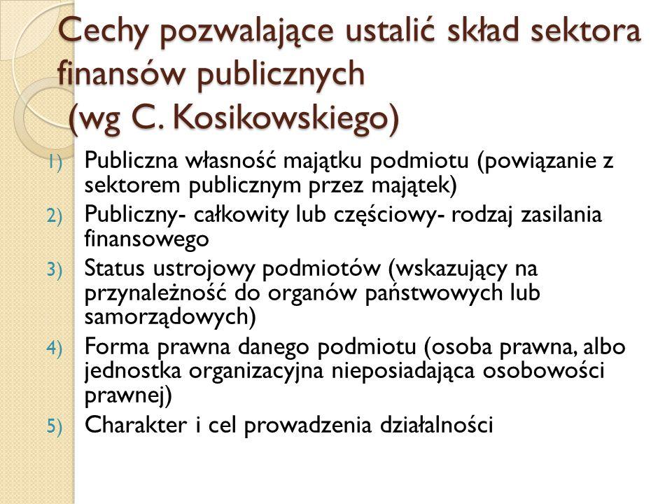 Cechy pozwalające ustalić skład sektora finansów publicznych (wg C.