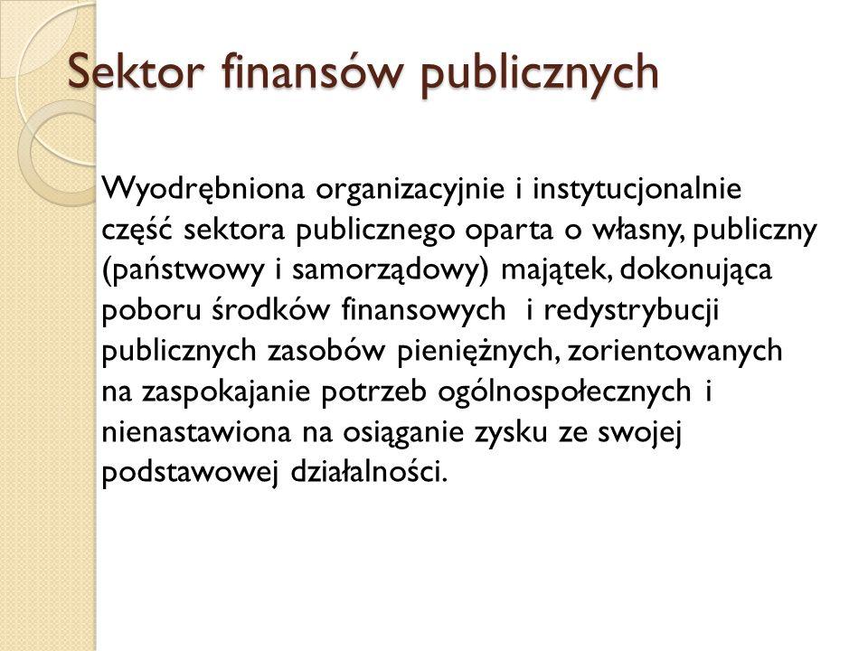 Sektor finansów publicznych Wyodrębniona organizacyjnie i instytucjonalnie część sektora publicznego oparta o własny, publiczny (państwowy i samorządowy) majątek, dokonująca poboru środków finansowych i redystrybucji publicznych zasobów pieniężnych, zorientowanych na zaspokajanie potrzeb ogólnospołecznych i nienastawiona na osiąganie zysku ze swojej podstawowej działalności.