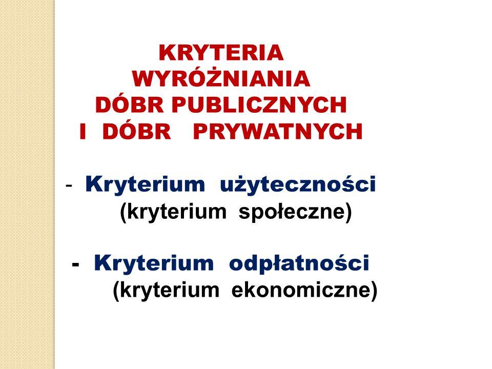 KRYTERIA WYRÓŻNIANIA DÓBR PUBLICZNYCH I DÓBR PRYWATNYCH - Kryterium użyteczności (kryterium społeczne) - Kryterium odpłatności (kryterium ekonomiczne)