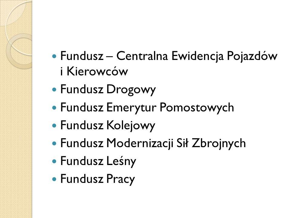 Fundusz – Centralna Ewidencja Pojazdów i Kierowców Fundusz Drogowy Fundusz Emerytur Pomostowych Fundusz Kolejowy Fundusz Modernizacji Sił Zbrojnych Fundusz Leśny Fundusz Pracy