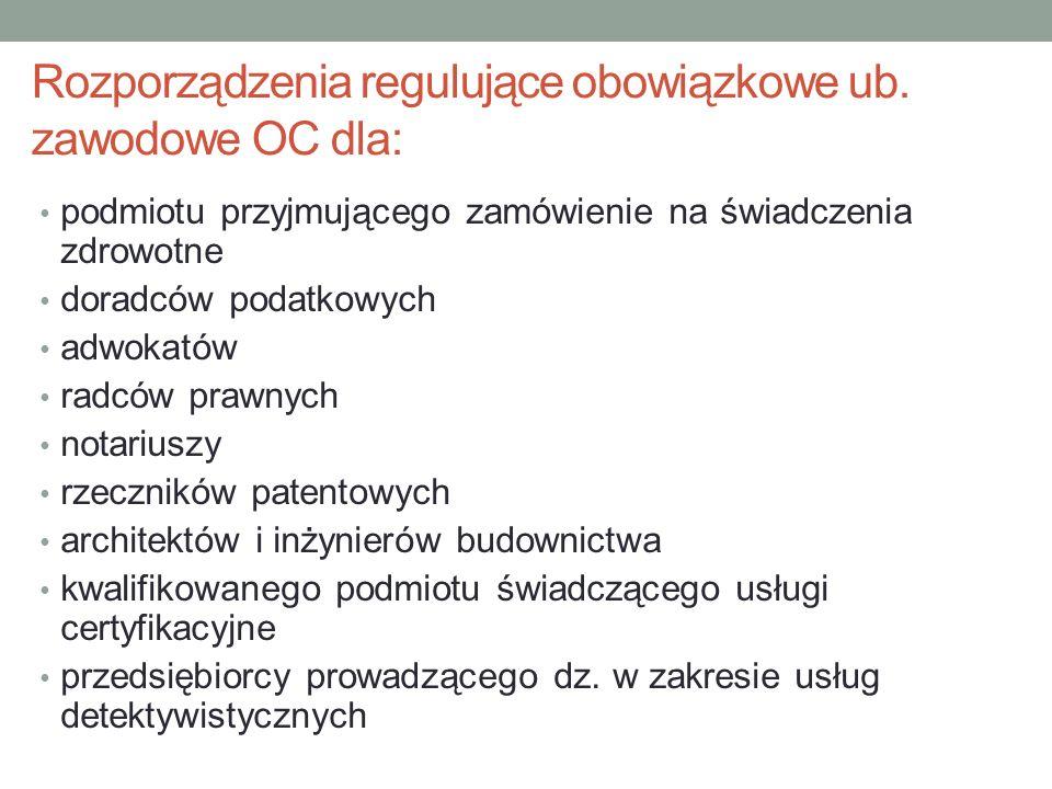 Rozporządzenia regulujące obowiązkowe ub. zawodowe OC dla: podmiotu przyjmującego zamówienie na świadczenia zdrowotne doradców podatkowych adwokatów r